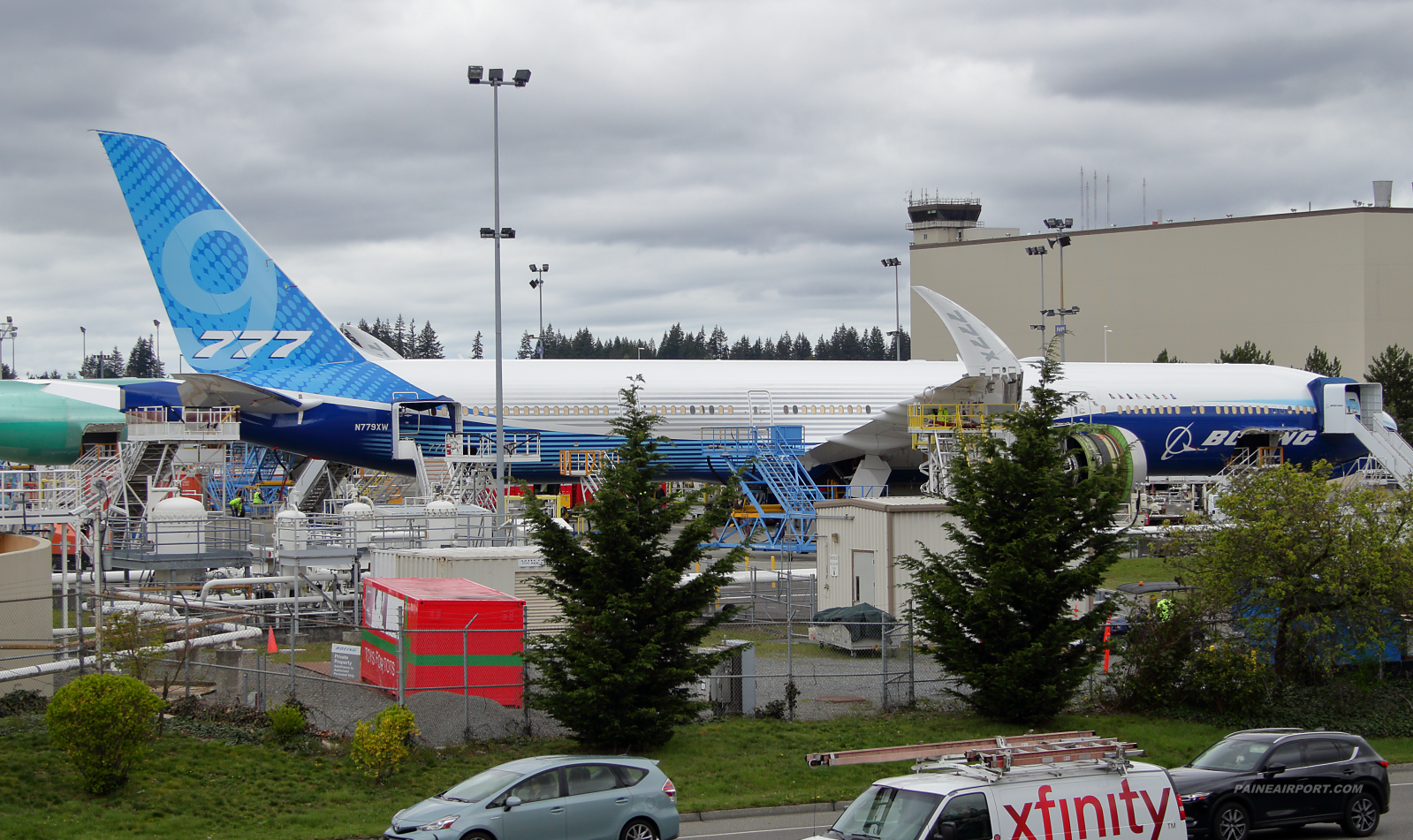 777-9 N779XW at the Boeing Everett fuel dock