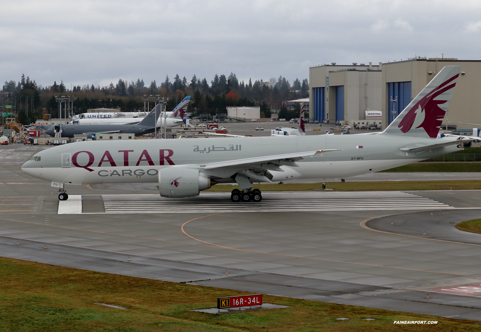 Qatar Cargo 777F A7-BFU at Paine Field
