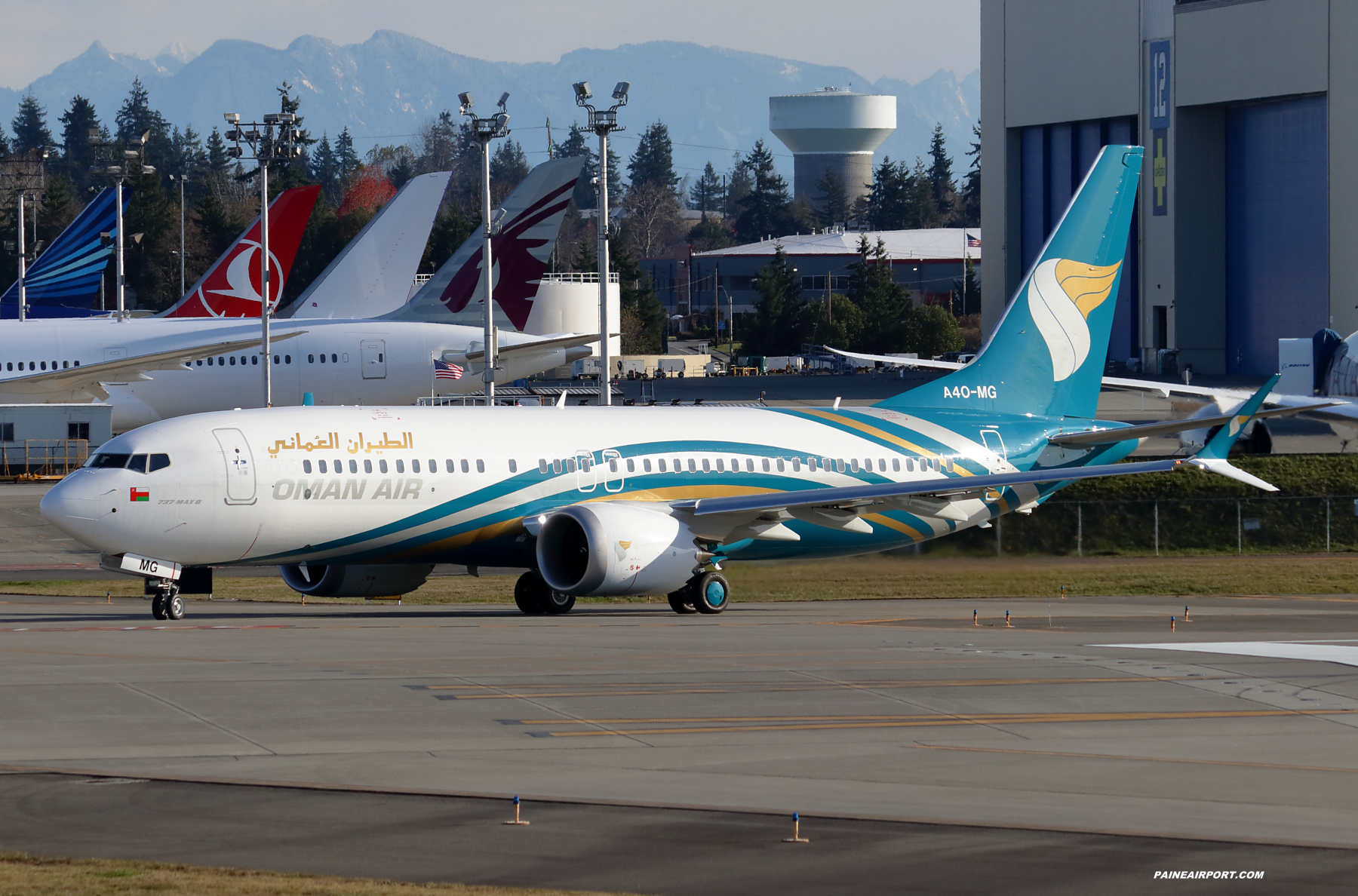 Oman Air 737 A4O-MG at Paine Field